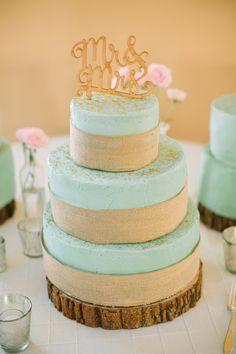 rustic aqua wedding cake, photo by Mustard Seed Photography http://ruffledblog.com/rustic-texas-wedding #weddingcake #cakes