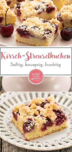 Tolles Rezept für einen absoluten Kuchen-Klassiker. Der Kirschkuchen vom Blech wird richtig schön saftig. Die Streusel machen den Blechkuchen knusprig und die Kirschen fruchtig. #kirschkuchen #blechkuchen #streuselkuchen #klassiker #sommer #kirschen #backenmachtgluecklich