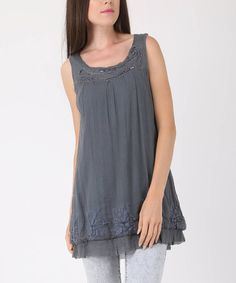 942c2c6ee6a Another great find on  zulily! Dark Gray Embellished Silk Sleeveless Tunic   zulilyfinds Sleeveless