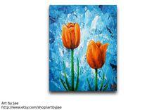 Orange Tulips Painting Realistic Original Acrylic by artbyjae, $85.00
