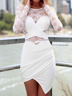 White Lace Long Sleeves Anomaly Dress