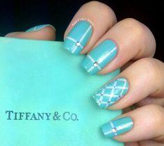 Tiffany & Co. Inspired #nails #nailart #nailpolish #color #nailpolishwars #tiffanyblue - bellashoot.com