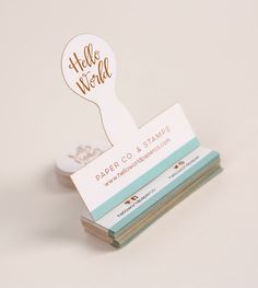 Digital Laser Die Cut Business Card - Design Credit: Kelly Parker Smith of Hello World Paper Co.