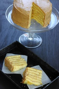 Six Layer Caramel Cake: Moist Yellow Butter Cake with a Rich Caramel Frosting ~ A southern classic!