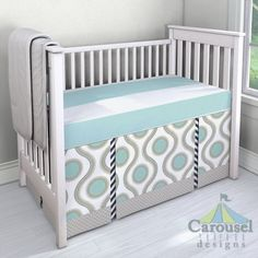 Crib bedding in Aqua Wide Stripe, Aqua and Taupe Susette, White and Navy Zig Zag, Taupe and Mint Diamond. Created using the Nursery Designer® by Carousel Designs where you mix and match from hundreds of fabrics to create your own unique baby bedding. #carouseldesigns