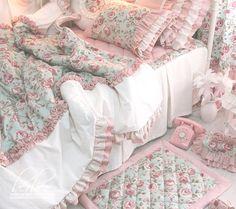 $239 light green roses red bean powder dimensional wood ear folds lace flounced denim bedding-ZZKKO