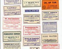 Vintage apotheker etiketten apotheek collage blad digitale download apotheker…