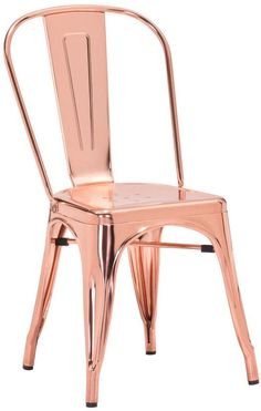 Rose Gold Metallic Dining Chair - Industrial & Modern