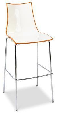 Zebra  Plastic Two-Colour Chrome Bar Stool in White/Orange  sc 1 st  Pinterest & Zebra