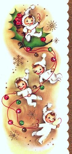 Vintage Christmas Card Angels Holly Ornaments by PaperPrizes