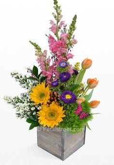 spring floral arrangements | Spring Garden Flowers Arranged in a Box - Pt. Pleasant, NJ Florist ...