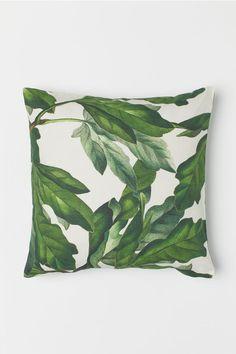 Patterned cushion cover - White / leaf motif - Home All Neutral Pillows, Cushion Cover Pattern, Cushion Covers, H&m Home, Curtain Patterns, White Leaf, Best Pillow, Velvet Cushions, Pom Poms