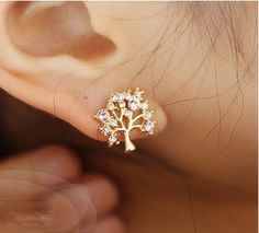 tree rhinestone creative cute earrings
