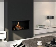 Black #fireplace wall