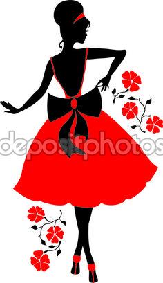 Ретро силуэт женщины — стоковая иллюстрация #54167927