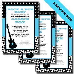 Rock n Roll Rock a Bye Baby Shower or by LeslieMarieDesigns, $22.00