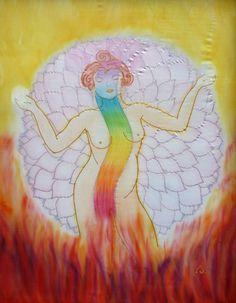 """""""Kundalini energia"""" /  """" Kundalini energy""""  silk painted   66 x 77 cm  Ildika ALDA Fazekas"""