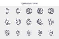 Line Apple Watch Icon Set by Sooodesign on Creative Market