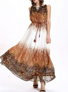 Sleeveless Pattern Print Loose Chiffon Maxi Dress