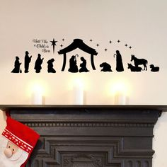 Christmas Nativity Scene - Unto Us a Child is Born - Christmas Decorations - Nativity Vinyl Decal - Christian Decor - FREE SHIPPING