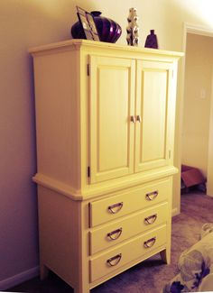 DIY yellow painted armoire