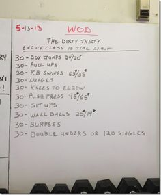 Dirty Thirty CrossFit WOD