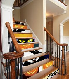 Decorating the risers on the stairs for Holidays. Now there's an idea