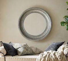 Audrey Beaded Mirror   Pottery Barn Round Hanging Mirror, Mirror Art, Round Mirrors, Large Mirrors, Wall Mirrors, Leaning Floor Mirror, Beaded Mirror, How To Clean Mirrors, Trellis Design