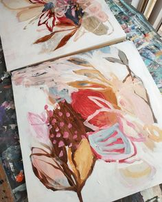 Abstract botanicals in progress - Gouache Painting Art Inspo, Painting Inspiration, Guache, Motif Floral, Pretty Art, Botanical Art, Art Techniques, Art Lessons, New Art