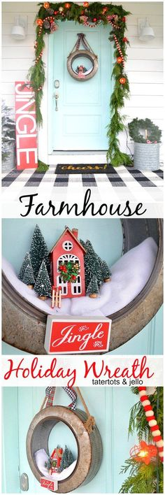 Make a galvanized farmhouse holiday wreath for your home. Add a little village inside for a charming wreath for any part of your home! Holiday Wreaths, Holiday Fun, Christmas Decorations, Holiday Decor, Holiday Ideas, Christmas Love, Winter Christmas, Christmas Ideas, Red Sign