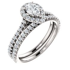Diamond Engagement Rings : 0.50 Ct Pear Diamond Engagement Ring 14k White Gold  Goldia.com