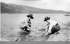 Vintage Photograph of Women on the beach at Lake Tahoe