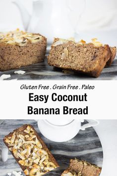 This gluten-free coconut banana bread is naturally sweet, moist, and oh so moreish! The blend of bananas mixed with a hint of coconut and cinnamon make a delicious combination. This banana bread is topped with crunchy shaved coconut and sliced banana, it is perfect to enjoy for breakfast, morning or afternoon tea. Paleo Friendly. #bananabread #glutenfreebread #paleobread #glutenfreebananabread. Gluten Free Recipes For Breakfast, Paleo Recipes Easy, Real Food Recipes, Dessert Recipes, Bread Recipes, Flour Recipes, Gf Recipes, Free Breakfast, Paleo Breakfast