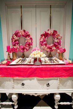 Fuchsia and hot pink wedding ideas. Dessert bar ideas