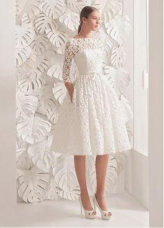#Dressilyme - #Dressilyme Dressilyme Fantastic Lace Bateau Neckline A-line Tea-length Wedding Dress With Belt & Bowknot - AdoreWe.com
