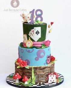 Alice in Wonderland Birthday Cake 18th Cake, 18th Birthday Cake, Yummy Cakes, How To Make Cake, Alice In Wonderland, Sweet, Desserts, Crafts, Food