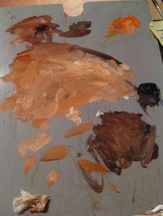 robert liberace's palette for portrait demo  titanium white, raw umber, burnt sienna and I believe a cadmium orange (light).