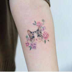 cat tattoo design - cat tattoo design Drawings - Focus on sharing Mini Tattoos, Dog Tattoos, Flower Tattoos, Black Tattoos, Body Art Tattoos, Ankle Tattoos, Friend Tattoos, Tattoo Art, Cat Tattoo Designs