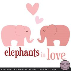 Digital Clip Art  Elephants in Love  in Pink by viveradesign, $2.80
