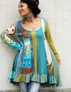 Fantasy unique patchwork recycled denim sweater by jamfashion, $99.00