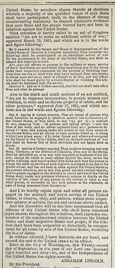 Abraham Lincoln's Emancipation Proclamation. 1862  --  part 2