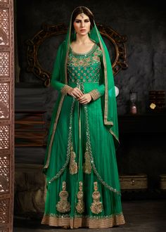Green Net Double Layered Abaya Kameez With Palazzo Pant Online Shopping : 829SL03