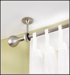 Decorating: Shower Curtain And Ceiling Mount Curtain Rods And Bracket Also Finials With Interior Paint Color For Modern Bathroom Design Ceiling Mount Curtain Rods, Ikea Curtain Rods, Hanging Curtain Rods, Ceiling Hooks, Ceiling Curtains, Curtain Rod Brackets, Shower Curtain Rods, Drapes Curtains, Shower Curtains