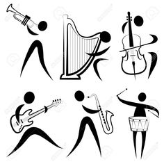 Musician symbol vector 413840 - by jackrust on VectorStock Music Notes Art, Sheet Music Art, Music Tattoo Designs, Music Tattoos, Stick Figure Drawing, Music Symbols, Music Drawings, Music Painting, African Art