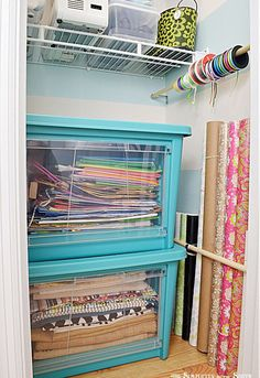 getting my craft closet organized part one small home big ideas, closet, craft rooms, organizing, My biggest frustration with the closet was that I had to store half of my gift wrapping supplies and fabric in another room Now I can store it all in one place