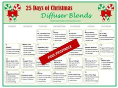 25 Days of Christmas Diffuser Blends (full version:  http://blog.oneessentialcommunity.com/wp-content/uploads/2015/11/25-days-of-Christmas-Diffuser-Blends-Calendar-PRINTABLE.pdf)