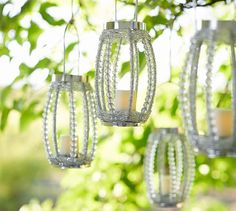 Beaded Hanging Votive Holder | Pottery Barn