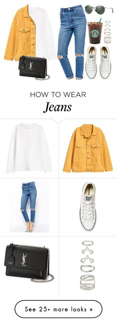 """Yellow and jeans."" by vany-alvarado on Polyvore featuring ASOS, Converse, Yves Saint Laurent, Forever 21 and Ray-Ban"