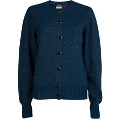 Chanel Peacock Blue Lurex Knit Button Front Cashmere Cardigan M ❤ liked on Polyvore featuring tops, cardigans, lurex top, lurex cardigan, knit cardigan, chanel tops and blue cashmere cardigan