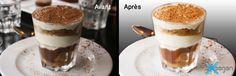 Photo amateur d'un Tiramisu : correction de couleur + décor gommé